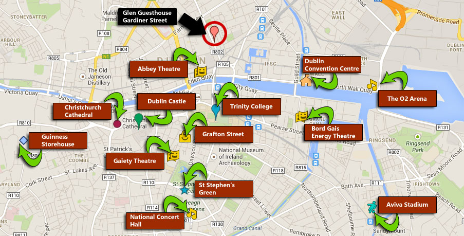 Location Of The Glen Guesthouse Dublin Ireland - Accommodation In Dublin